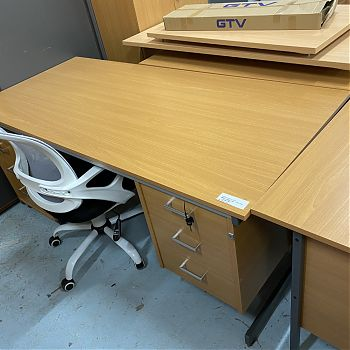 DARK BEECH 1600 STRAIGHT DESK WITH DRAWERS