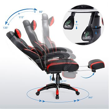 J1457(77BR) - Racing Style Office Chair - Black & Red