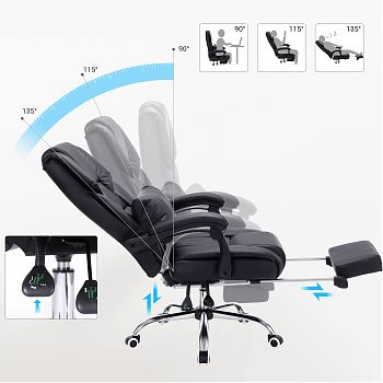J1457(71B) - Executive chair with headrest and footrest - All Black