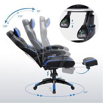 J1457(77BU) - Racing Style Office Chair - Black & Blue