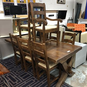 SOLID DINING TABLE & 8 CHAIRS