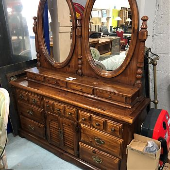 LARGE PINE SIDEBOARD WITH MIRRORS