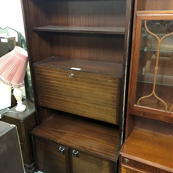 TALL DARK WOOD DISPLAY / DRINKS CABINET
