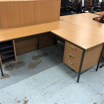 DARK BEECH DESK WITH RETURN UNIT