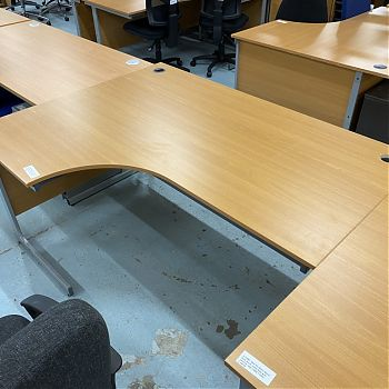 DARK BEECH RADIAL DESKS - 2 SIZES AVAILABLE