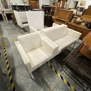 WHITE LEATHER 2 + 1 SEAT SOFAS
