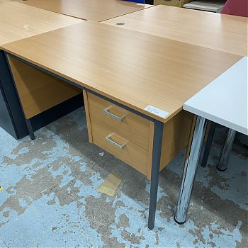 DARK BEECH 1200 STRAIGHT DESK WITH DRAWERS