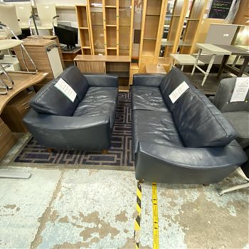 3 + 2 ITAL NAVY LEATHER SOFA SET