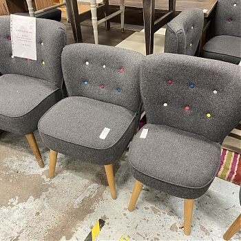 MODERN GREY FABRIC SIDECHAIRS