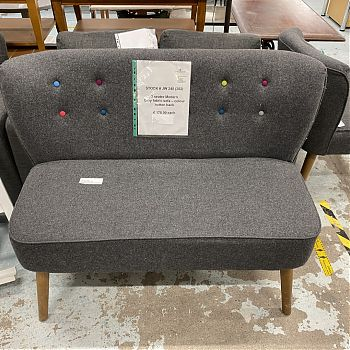 MODERN GREY FABRIC 2 SEATER SOFA